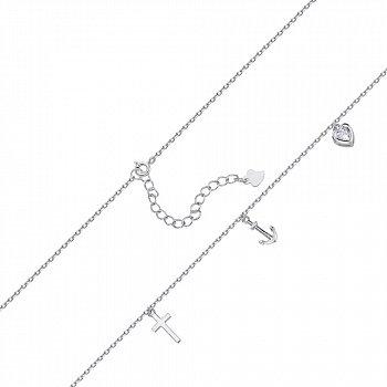 Серебряный браслет с цирконием Swarovski 000145376