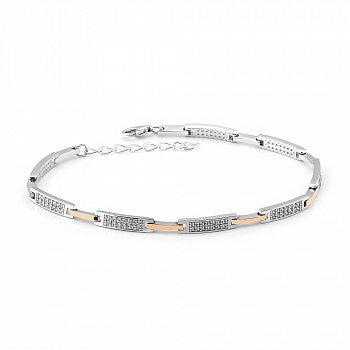Серебряный браслет с золотыми накладками и фианитами 000149455