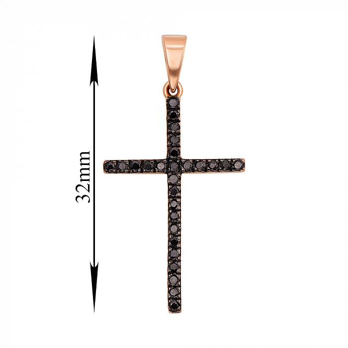 Золотой крестик двухсторонний с черными и белыми фианитами 000011476 31372/01/1/146