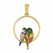 Подвеска Влюбленные попугайчики из желтого золота