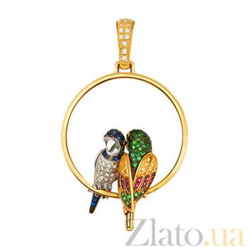 Подвеска Влюбленные попугайчики из желтого золота VLT--ТТ3406-1