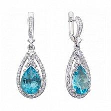 Серебряные серьги-подвески Мерилин с голубым кварцем и цирконием