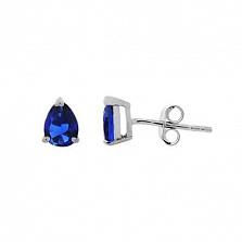 Серебряные серьги пусеты с синим цирконом