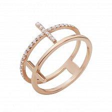 Золотое кольцо Айтанго с двойной шинкой и дорожками фианитов