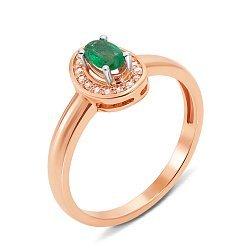 Кольцо из красного золота с изумрудом и бриллиантами 000131207