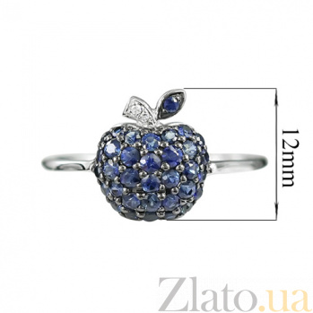 Золотое кольцо с сапфирами и бриллиантами Яблочная фантазия 000026854