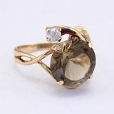 Золотое кольцо Джунгли с гидротермальным раухтопазом и фианитом