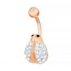 Серебряная серьга для пирсинга с кристаллами циркония Жучок 000031052