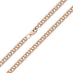 Цепь из красного золота в плетении трисмарк, 6 мм 000145053