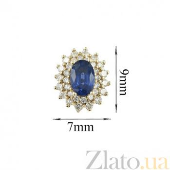 Золотые серьги с сапфирами и бриллиантами Озарение 000026656