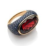 Золотое кольцо с гранатом и сапфирами Эрнестина