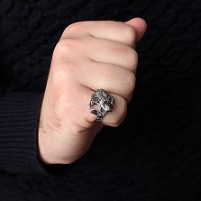 Серебряное кольцо Огнедышащий дракон с корундами и чернением