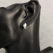 Серебряные серьги Белый криптонит с фианитами огранки маркиз