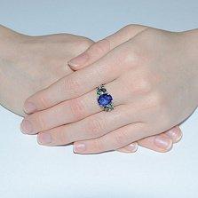 Серебряное кольцо Анжелика с синим и зелёным цирконием