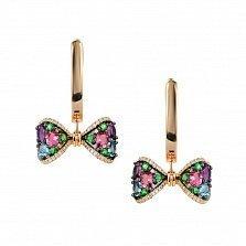 Золотые серьги-подвески Банты с бриллиантами, аметистом, топазом, цаворитом и розовым турмалином
