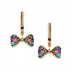 Золотые серьги-подвески с бриллиантами, аметистом, топазом, цаворитом и розовым турмалином 000081196
