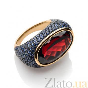 Золотое кольцо с гранатом и сапфирами Эрнестина 1К113-0139