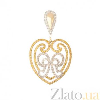 Подвеска Сердце с желтого золота с цирконием VLT--ТТТ3475