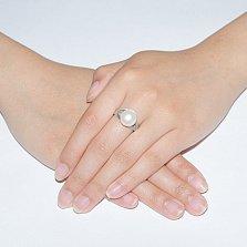 Серебряное кольцо Инесса с белой жемчужиной и фианитами
