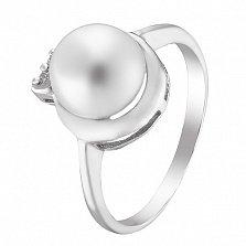Серебряное кольцо Мемфис с жемчугом и фианитами