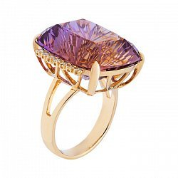 Золотое кольцо с аметрином и бриллиантами 000052119