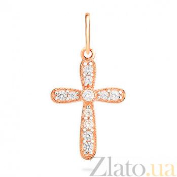 Золотой крестик с фианитами Полина SUF--440401