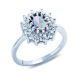 Серебряное кольцо с мистик топазом и фианитами Элеонора