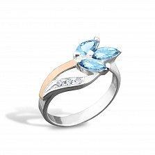 Серебряное кольцо Весенний цветок с золотой накладкой и голубыми и белыми фианитами