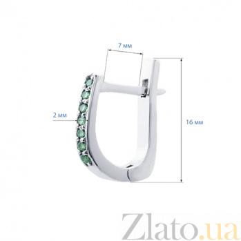 Серебряные серьги с зелеными фианитами Дорожки 000027098