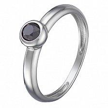 Кольцо в белом золоте Анастасия с завальцованным черным бриллиантом