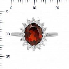 Серебряное кольцо Пелагея с гранатом и фианитами