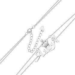 Многослойный серебряный браслет с подвеской-именем Алина и цирконием 000131961