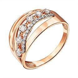 Кольцо из красного золота с фианитами и родированием 000135348