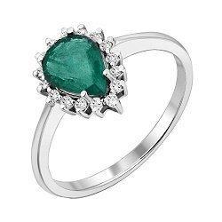 Кольцо из белого золота с изумрудом и бриллиантами 000140569