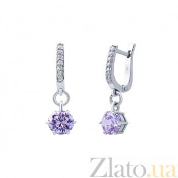 Серебряные серьги с лиловым цирконом Фиалка AQA--72258л