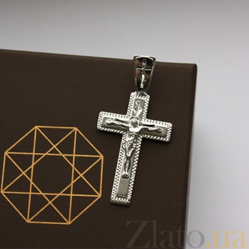 Крестик из серебра родированный Светлый день 000013401