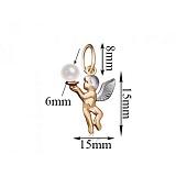 Золотой подвес Белокурый ангелочек с жемчужиной