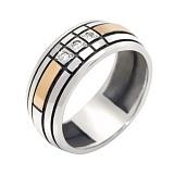 Серебряное кольцо с золотой вставкой и фианитами Монтана