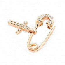 Золотая булавка Крестик с бриллиантами