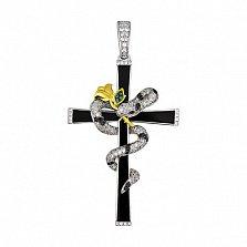 Декоративный крестик из белого золота Змея