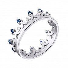 Серебряное кольцо с сапфирами и бриллиантами Княжна