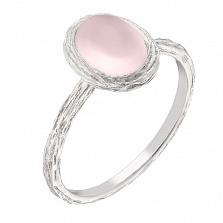 Золотое кольцо Сирена с розовым кварцем