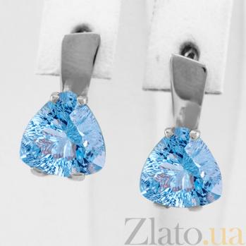 Золотые серьги с голубым топазом Сандра 000024380