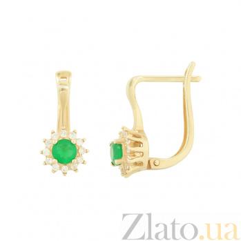 Золотые серьги с агатом и фианитами Бриана 2С480-0036