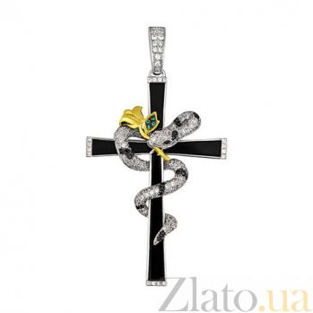 Декоративный крестик из белого золота Змея VLT--ТТТ3450