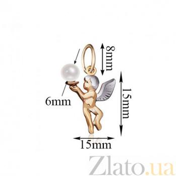 Золотой подвес Белокурый купидон с белой жемчужиной 000001330