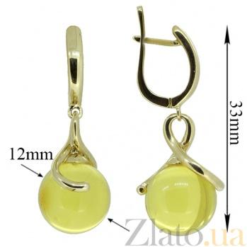 Золотые серьги в желтом цвете с янтарём Ия ZMX--EAmber-6961y_K