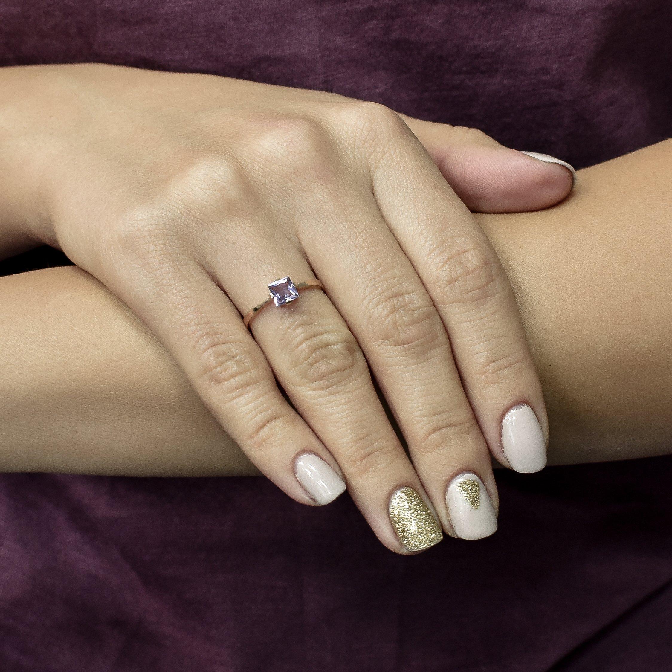 Кольцо в красном золоте Лира с аметистом