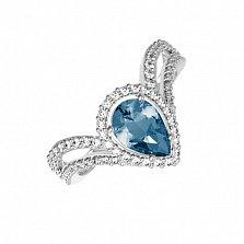 Серебряное кольцо Катарина с лондон кварцем и фианитами