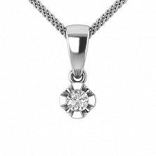 Золотой подвес в белом цвете с бриллиантом Сириус